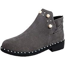 Zapatos Mujer,Botas de Mujer Vintage Botas de Perlas de tacón de botín de Gamuza