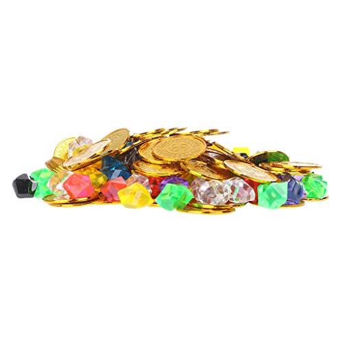 100 Goldmünzen und 100 Edelsteine   Pirat Spielzeug Piraten Edelsteine   Schmuck Spielset Schatz für Piratenpartei ()