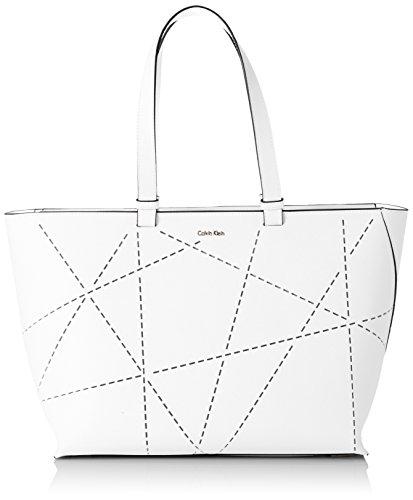 CALVIN KLEIN ACCESSORI Damen Tasche Sofie Perforated Large Tote , Weiß, größe OS (Calvin Klein Schulter Leder Tasche)