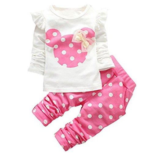 Jastore® 2pcs Minnie Kopf Outfit Set Herbst Frühling nette Baby Kind Kleidung Langarm Shirt Tops Bluse + Hose Leggings für 3-8 Jähriges Mädchen (86, Rosa)