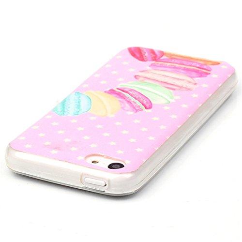 iPhone 5C Coque, 5C Coque, Lifeturt [ Pivoine ] Housse Anti-dérapante Absorbant Chocs Protection Etui Silicone Gel TPU Bumper Case pour Apple iPhone 5C E02-Dessert543