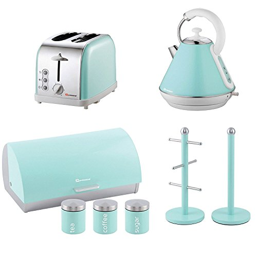 Matching Kitchen Set Of Four Items: Toaster, Kettle, Bread Bin And Canisters And Mug Tree And Kitchen Roll Holder Stand Set In Mint Green