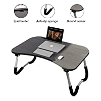 Folding Bed Table Tray Laptop Desk Notebook Stand with Ipad Holder Cup Slot Anti Slip Legs Black Foldable Portable for Bed Sofa Couch Floor Outdoor Camping