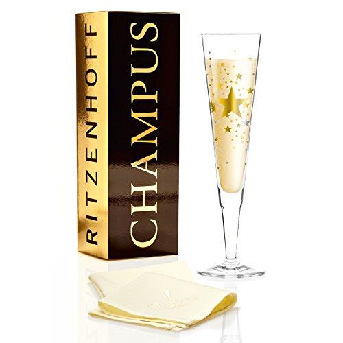 RITZENHOFF Champus Champagnerglas von Ellen Wittefeld, aus Kristallglas, 200 ml, mit edlen Gold- und Platinanteilen, inkl. Stoffserviette
