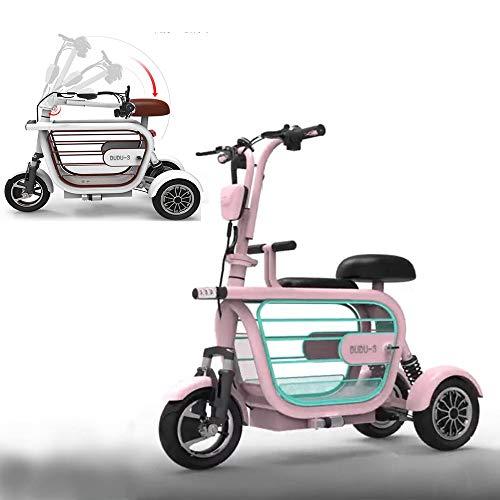 WLY Bicicleta eléctrica Plegable de Tres Ruedas para Adultos Mayores Mini vagón Exterior 48V20A Scooter eléctrico de Litio Independiente Colgando...