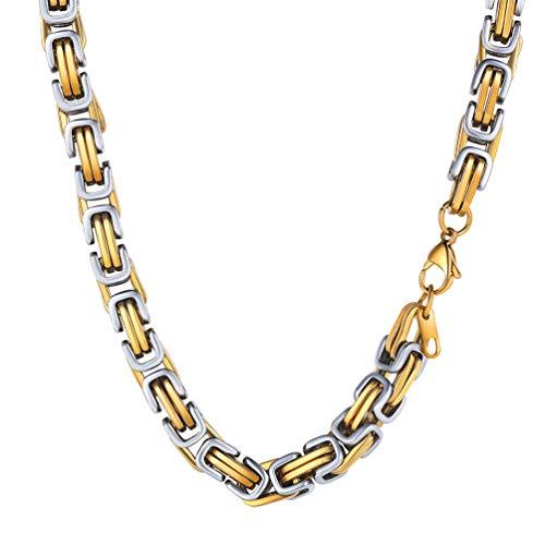 PROSTEEL 8 mm breit massiv Königskette Herren Halskette 18k vergoldet 61cm byzantinische Gliederkette Biker Punk Rock Schmuck, Gold&Silber