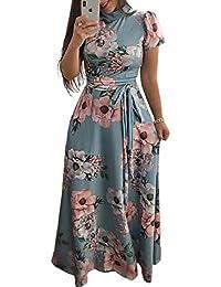 722204149eb1 Abiti Estivi Lungo Manica Collo Donna Elegante Corta Alto Mode di Marca  Floreale Maxi Abito Vintage