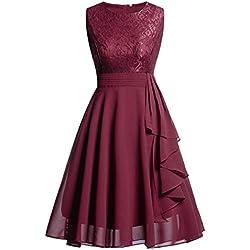 Kinlene Vestido de Mujer - Vestido de Fiesta de Noche Casual Swing Dress Elegantes de Noche Vestido Encaje sin Mangas Floral de la Vendimia de Las Mujeres (Rojo, L)