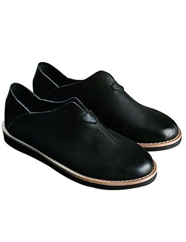 Youlee Femmes Fait Main Rétro Flâneurs Cuir Chaussures Noir