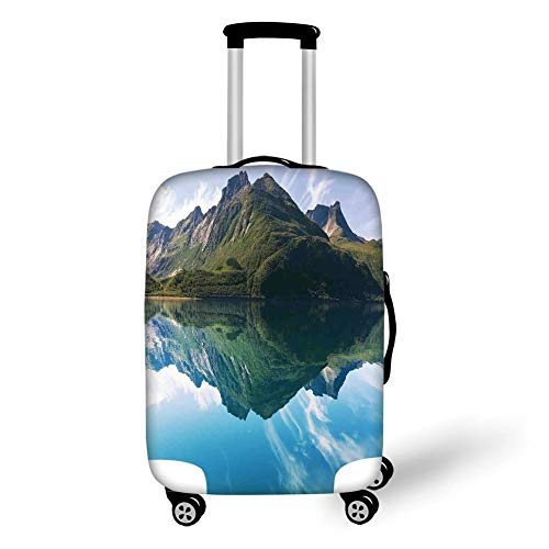 Travel Luggage Cover Suitcase Protector,Landscape,Mountain with Sharp Peaks and Short Trees Reflected to a Quiet Lake,Light Blue Dark Green,for Travel - Softball Spandex Shorts