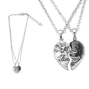 Lot de 2 Colliers en Métal Argenté Pendentifs Secable Coeur Mon Amour - Bijoux Femme Fantaisie