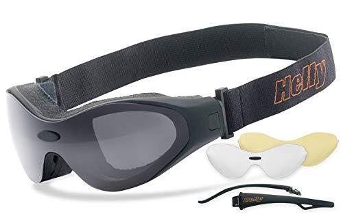 eyes® | beschlagfrei, winddicht, nachtsicht HLT® Kunststoff-Sicherheitsglas nach DIN EN 166 | Motorradbrille, Bikerbrille, Sportbrille, Nachtbrille | ()