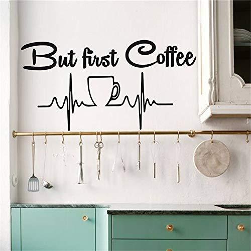 yiyiyaya Aber zuerst Kaffee Küche Dekor Wandtattoo Vinyl Aufkleber Kaffeetasse Wandbild Idee Wohnkultur Esszimmer Cafe Bar Tapete rot 81x42 cm