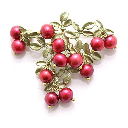 MEIDI Home Frische natürliche Cranberry-Brosche Die High-End-Geschenkbrosche kann Eltern von Liebhabern, Freundinnen, Kollegen als Geschenk geschenkt Werden