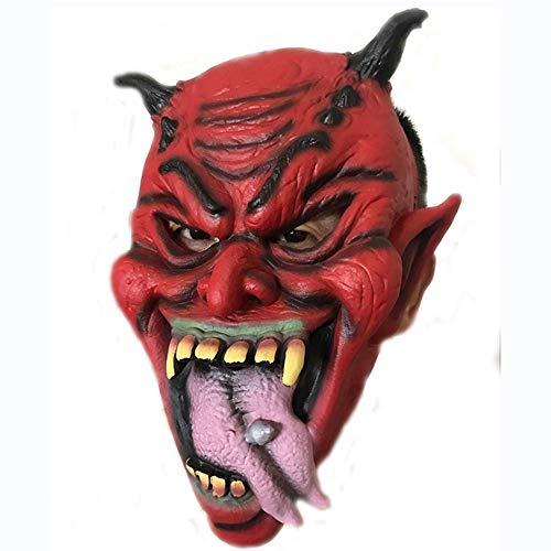 SCLMJ Horror Red Face Lange Zunge Nagel Maske Halloween Party Scary Maske