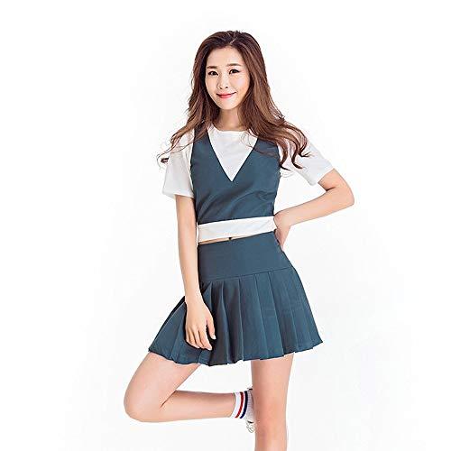 MCO%SISTSR Cheerleader-Kostüm,Mädchen Team Uniform Set Fußball Mini Rock High School Musik Bekleidung Sportwettbewerb Dance Bar ()