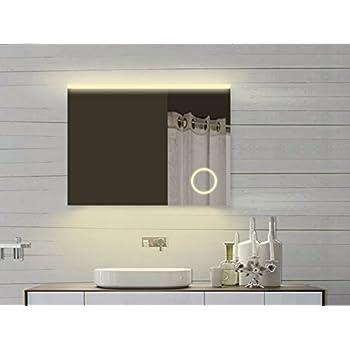 design led spiegel mit integriertem kosmetikspiegel 60x80 cm badspiegel kaltwei. Black Bedroom Furniture Sets. Home Design Ideas
