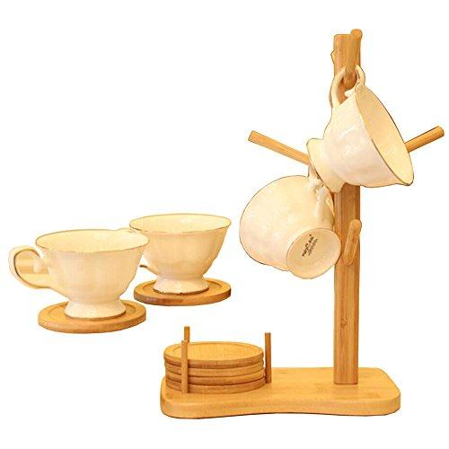 Gossipboy en bois amovible Arbre à tasses de thé de stockage de support de support de séchage Tasses à café les bottes à suspendre en bambou avec 6 Dessous de Verre