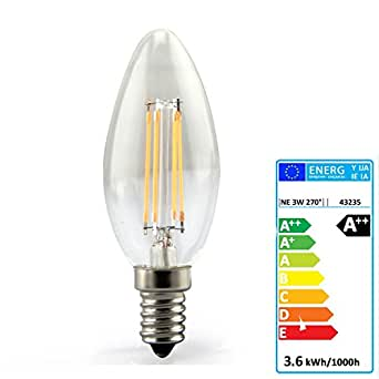 JSG Accessories Ampoule à LED avec filament E14 avec angle de faisceau 360° Blanc chaud 3,6W 2700K 400lm 230V AC