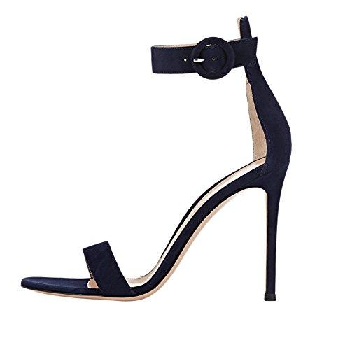 EDEFS Damen Peep Toe Knöchelriemchen Sandalen High Heels Sommer Schuhe Blau Größe EU37 Ankle Strap Peep Toe Heels