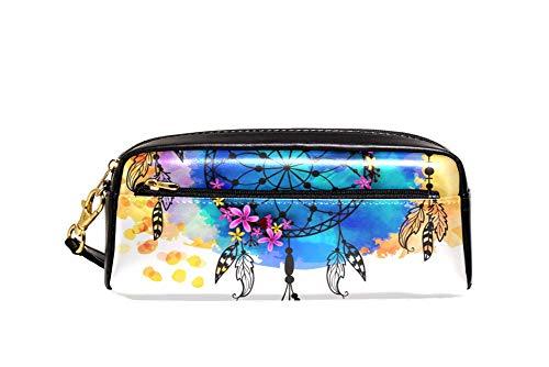"""Estuche para lápices con diseño de ciervos y atrapasueños nativos americanos, color Negro10. 8""""x2""""x3"""""""