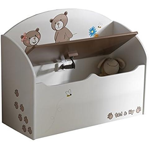 Demeyere 234549 Ted & Lily - Baúl para juguetes, color blanco y beige