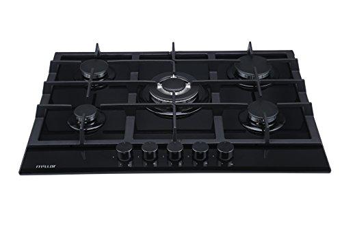 Millar GH7051TB Plaque de cuisson en Verre trempé avec 5 brûleurs à gaz Noir 70 cm/Table de Cuisson