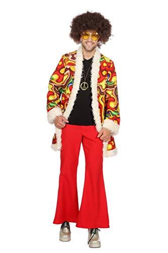 Wilbers 5398 Hippie-Kostüm Jimmy Herren Deluxe Psychodelic Lavalampe Hochwertige Verkleidung Gruppenkostüm Partnerkostüm Männer Größe 48 Rot/Gelb