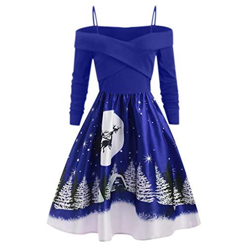 Zottom Damen Weihnachten Karneval Kostüm Kleid Damen Club Abendkleid Retro Print Langarm Knieschaukel Kleid(Blau,XXX-Large)