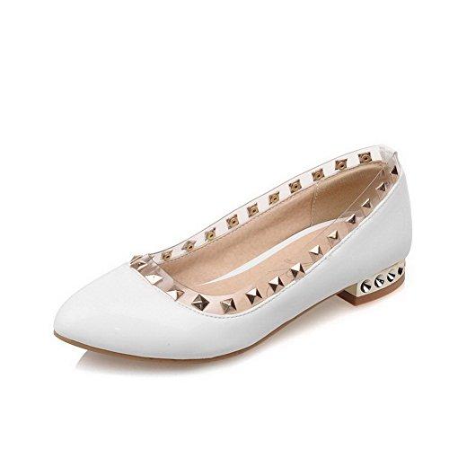 AgooLar Femme à Talon Bas Mosaïque Tire Verni Pointu Chaussures Légeres Blanc