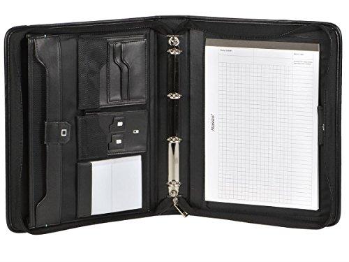 Cartella portadocumenti, formato A4, con meccanismo ad anelli da 20 mm, tasca per tablet e manico con 100 buste trasparenti
