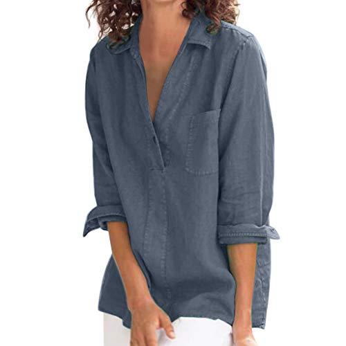 Longzjhd Langarm Shirt Damen Freizeit V-Ausschnitt Leinen Bluse Locker Hemd Blusenshirt Damen Bluse Einfarbig Lässige Lose Tunika Tops T-Shirt Hemdbluse Große Größen -