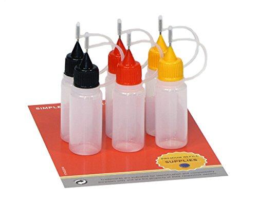 6 x 10 ml Nadelflaschen, E-Liquids Quetschflaschen für E-Shishas und E-Zigaretten, Öle, Farben und Klebstoffe, leere LDPE Kunststoffflaschen für Verdampfer / Depots / Clearomizer mit je 2x schwarzen, roten, orangen Nadelkappen, inkl. 6 Beschriftungsetiketten