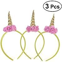 LUOEM 3 unids fiesta de cumpleaños unicornio cuerno diadema con espuma rosa decoración tocado tocado fiesta