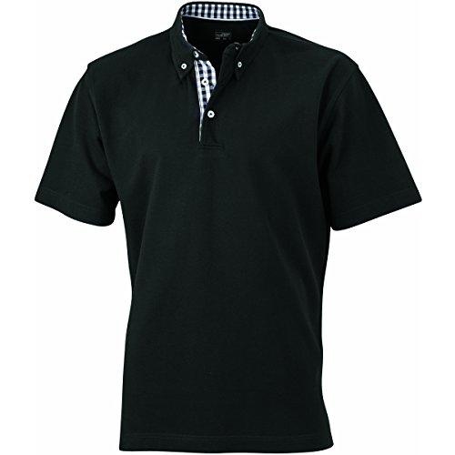 JAMES & NICHOLSON Herren Poloshirt, Einfarbig noir (inserts noir/blanc)