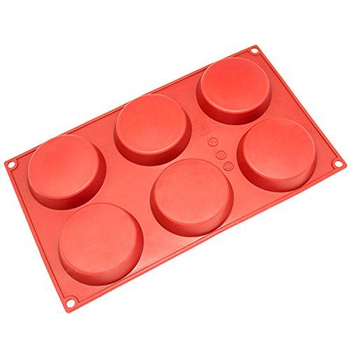 Freshware 3-Cavity Disc Kuchen Silikon Form und Backform Mini rot Mini Wedding Cake Pan