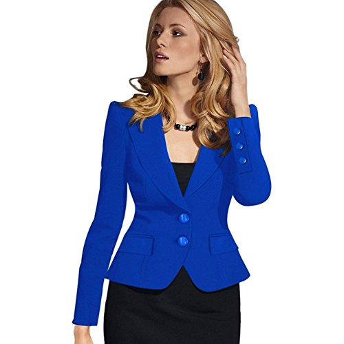 BOBORA Donna Bussiness Blazer Suit 2 Button Workwear Nero Cappotto del Rivestimento