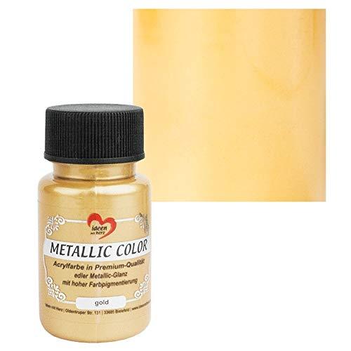 Ideen mit Herz Metallic Color   Metallic-Farbe   hochwertige Acrylfarbe in Premium-Qualität mit edlem Metallic-Glanz und hoher Farbpigmentierung   50 ml (Gold)