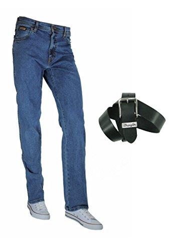 Wrangler TEXAS STRETCH Herren Jeans Regular Straight Fit inkl. Wrangler Basic Ledergürtel versch. Waschungen Stonewash