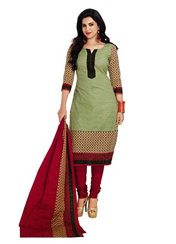 AngelFab Women\'s Cotton Printed Salwar Suit Dress Material PR517_Yellow and Green_Free Size
