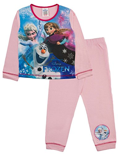 Offizieller Kinder/Mädchen/Jungen-Disney-Frozen-Elsa-Anna-Schlafanzug für Kinder, 2-teiliges Set, lange Ärmel, 100 % Baumwolle Gr. 18-24 Monate, Sublimated Elsa, Anna and Olaf - Pink/Blue