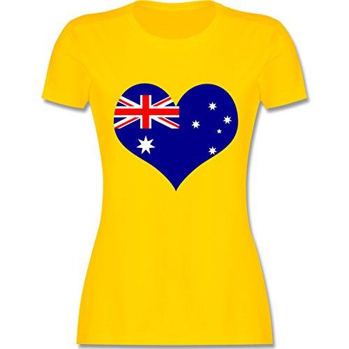 Länder - Herz Australien - tailliertes Premium T-Shirt mit Rundhalsausschnitt für Damen Gelb