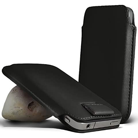 Asus Padfone 2 BLACK PU custodia cover in pelle con linguetta di chiusura (XL)