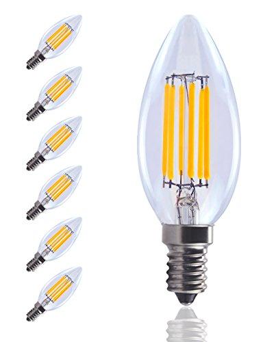 gvoree regulable bombillas LED C35, E14, 6W, 600lumens, bombillas de bajo consumo, vidrio, Warm White(2700K pack of 6), E23, 6.00 W 220.00 voltsV