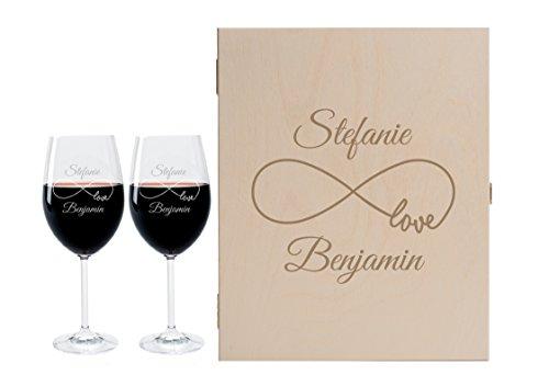2 Leonardo Weingläser mit Geschenkbox und Gravur Endless Geschenkidee Wein-Gläser graviert