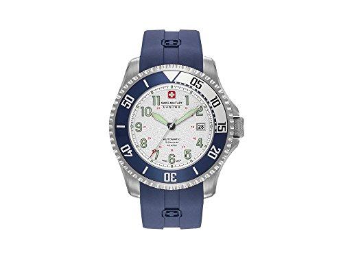 Swiss Military Hanowa Automatic Triton Uhr, Titan, Silber, Tag, Silikoneband