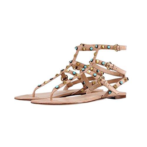 Damen Zehentrenner Regenbogen Flach Schuhe T-Spange mit Nietendecoration Nude