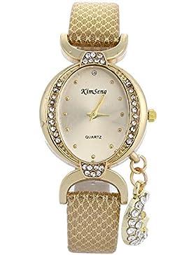 MJARTORIA Damen Armbanduhr Klein Retro mit Strass Analog Quarz Damenuhr Edelstahl Golden Farbe 24cm
