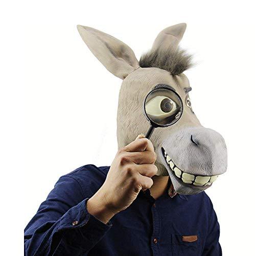 Tcbz Latexmaske für Halloween, Tiermaske, lustige Eselkopf, Shrek Maske, Männer und Frauen Streiche Maske Gesicht, Gruselige Halloween-Kostüm, Party, Bar, Maskerade (Shrek Kostüm Für Hunde)