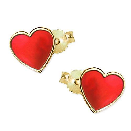 CLEVER SCHMUCK Goldene sehr kleine Kinder Ohrstecker Mini Herz 4,5 mm rot lackiert glänzend 333 Gold 8 Karat